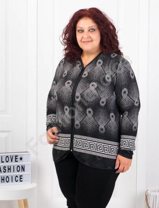Приятна топла макси жилетка в черно с бяло-код 6006