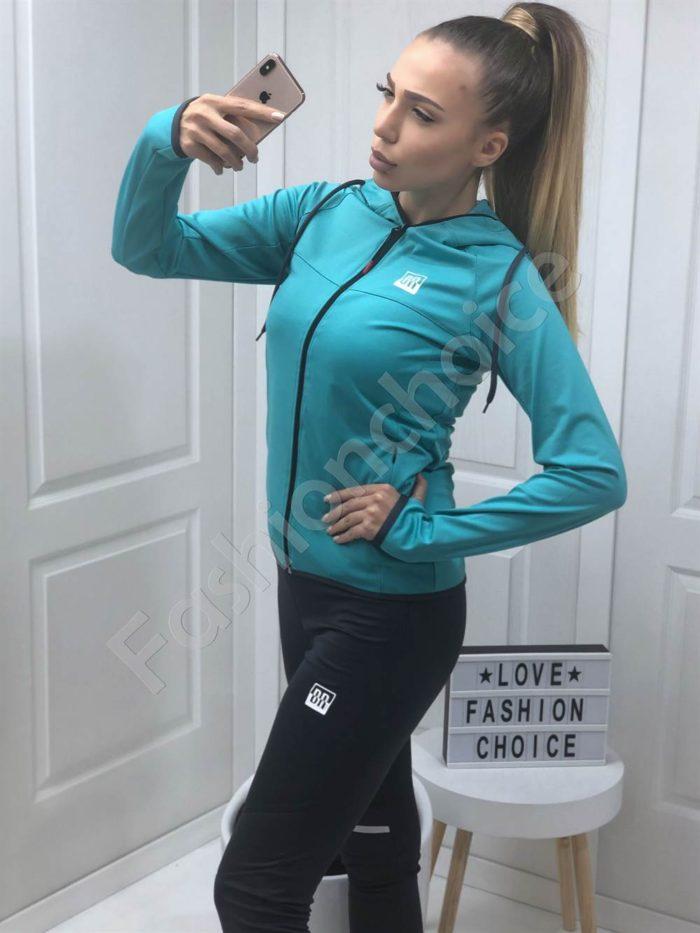 Дамски спортен комплект в цвят мента-Код 008-1