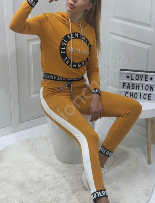 Спортен дамски сет с надписи в цвят горчица-Код 1259-1