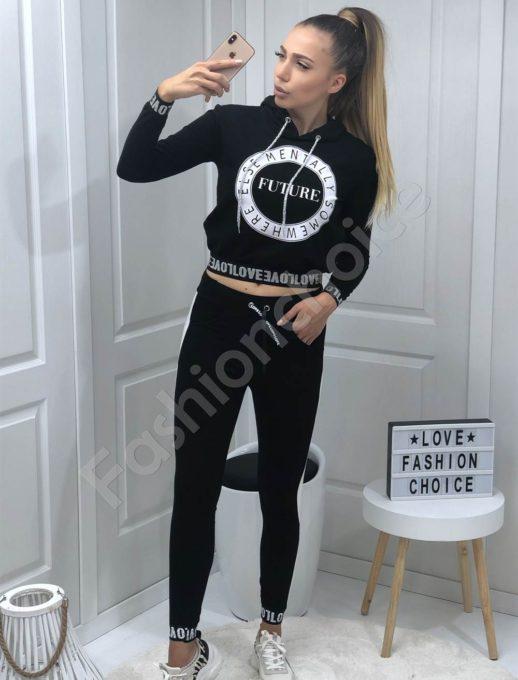 Спортен дамски сет в черно с надписи-Код 1259