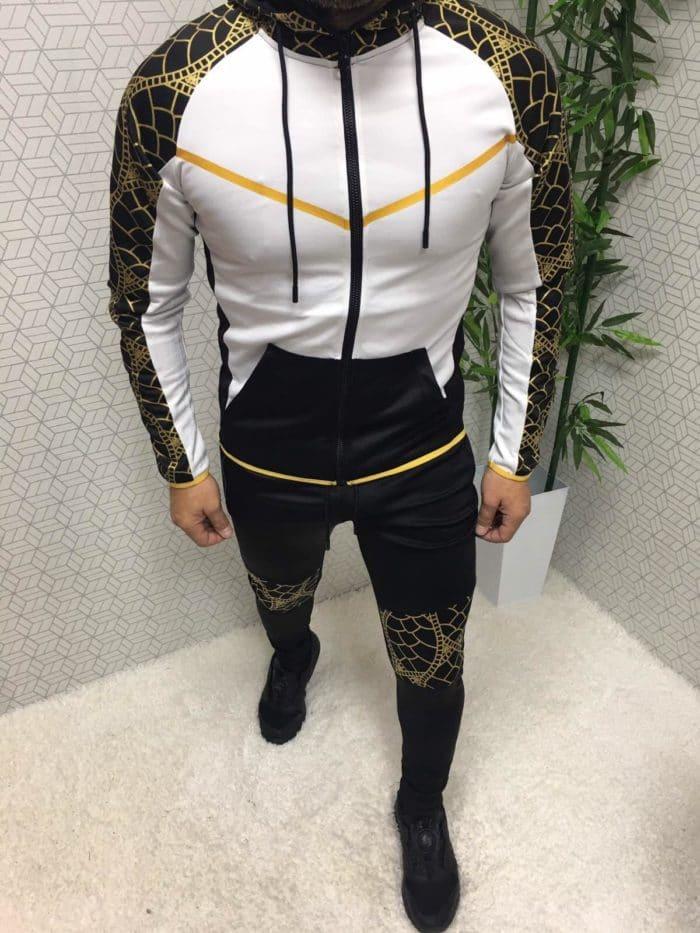 Мъжки спортен комплект в бяло и черно със златна апликация-код 366