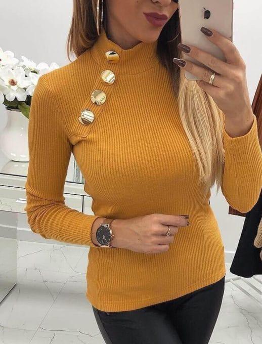 Дамска блуза полуполо с копчета - цвят горчица