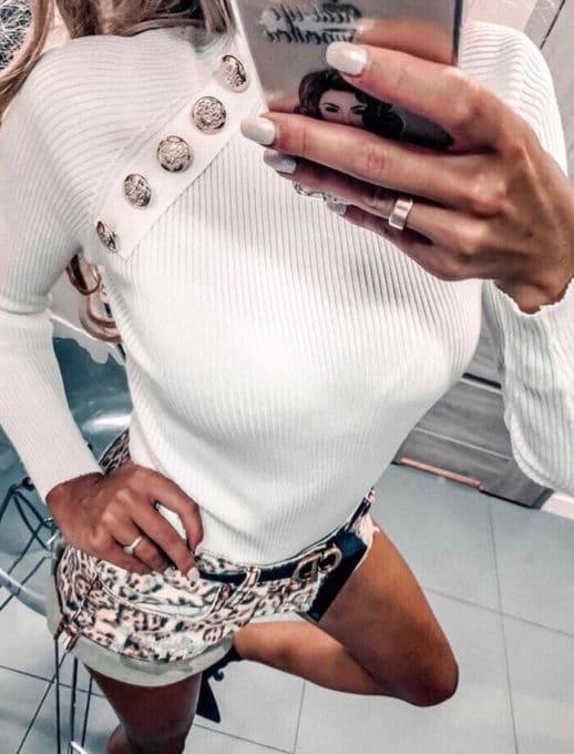 Дамска блуза полуполо с копчета - бяло Код 1286