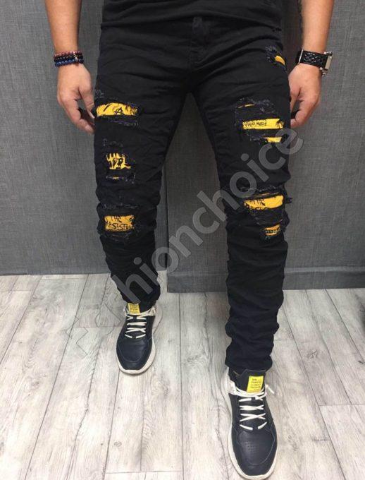 Мъжки черни дънки с жълти кръпки-код 117