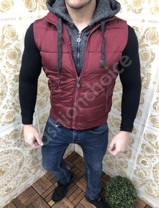 Плътна мъжка грейка с качулка в цвят бордо-код 2115