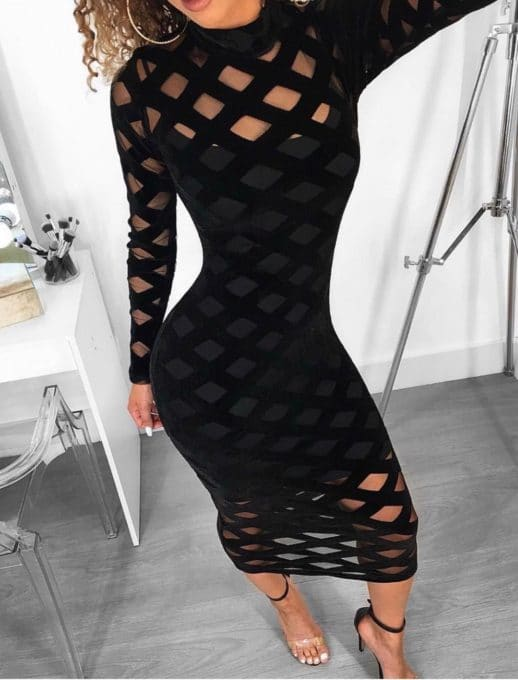 Черна рокля по тялото с миди дължина Код 1114