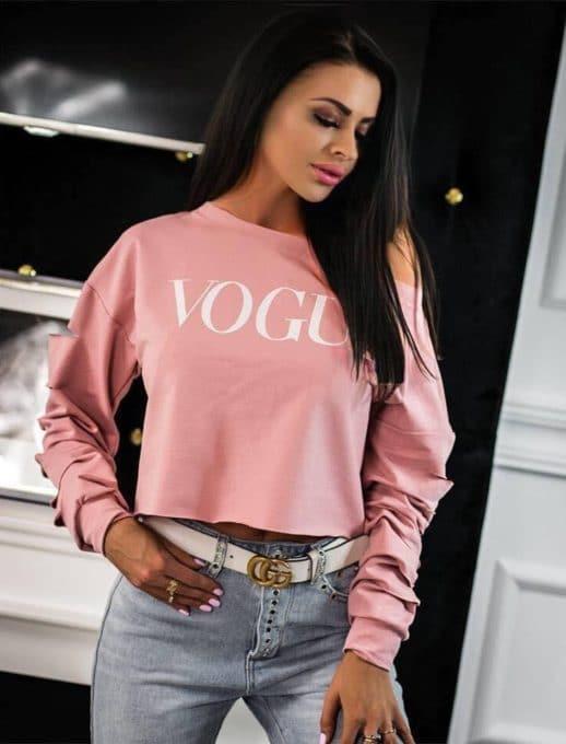Дамска блузка в розово с ефектни прорези-код 1287-1