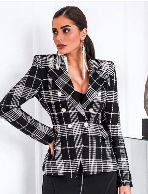 Стилно дамско сако в черно-бяло каре-код 1126
