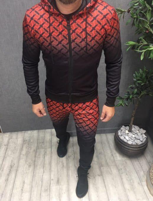Мъжки спортен комплект в черно и червено-код 266