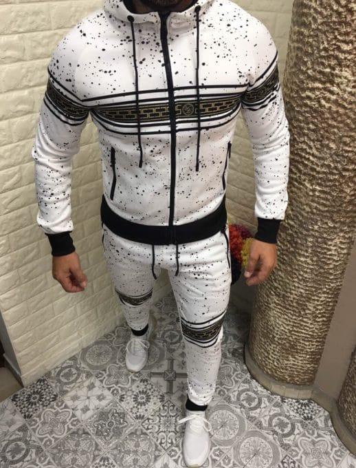 Мъжки спортен комплект в бяло с черно-код 221-1