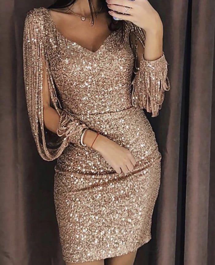 Парти рокличка с ефектен ръкав в цвят пудра-код 1137-1