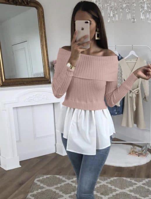 Дамска блузка с пеплум и голи рамена в розово-код 667