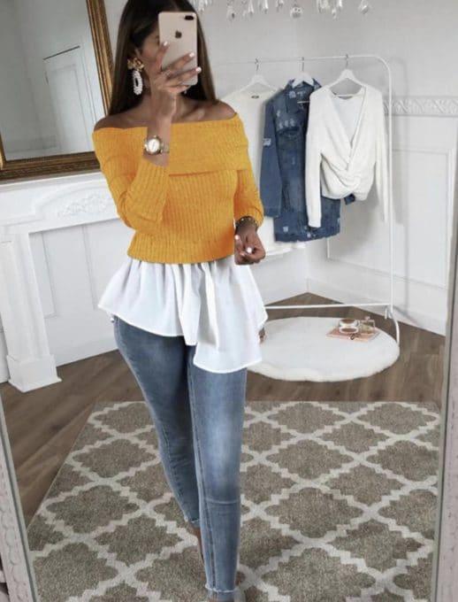 Дамска блузка с пеплум и голи рамена в цвят горчица-код 667-2