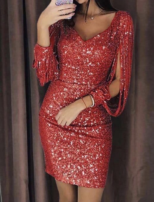 Парти рокличка с ефектен ръкав в червено-код 1137-2