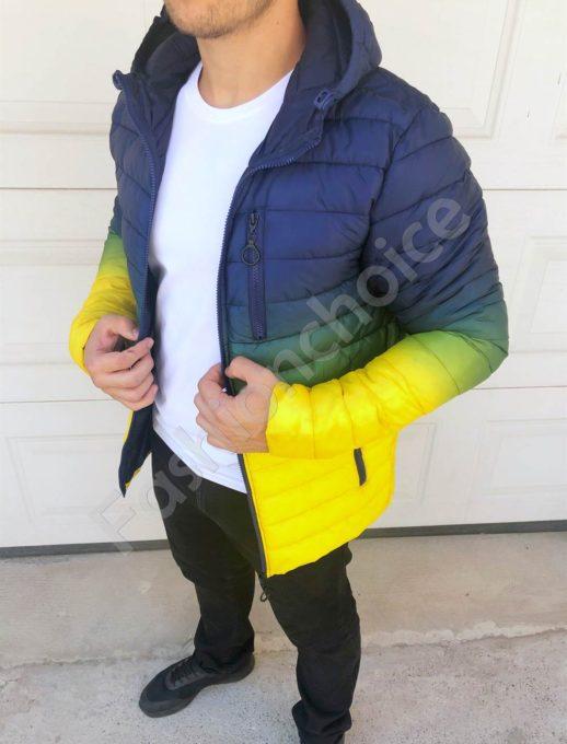 Мъжко яке с качулка в преливащ десен в синьо-жълто-код 565-2