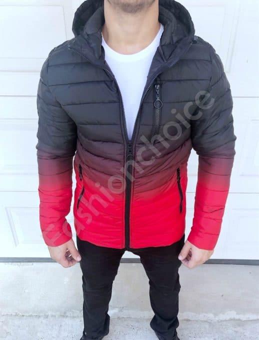 Мъжко яке с качулка в преливащ десен в червено-код 565