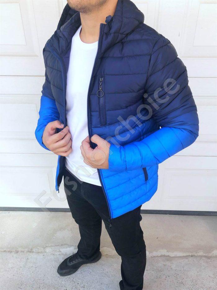 Мъжко яке с качулка в преливащ десен в синьо-код 565-1