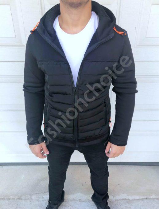 Мъжко плътно спортно яке с качулка и джобчета в черно-код 27-2