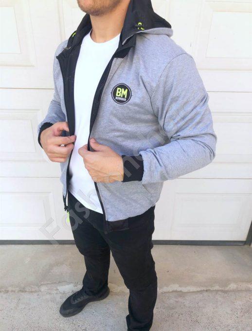 Двулицево мъжко яке с качулка в черно-код 8330