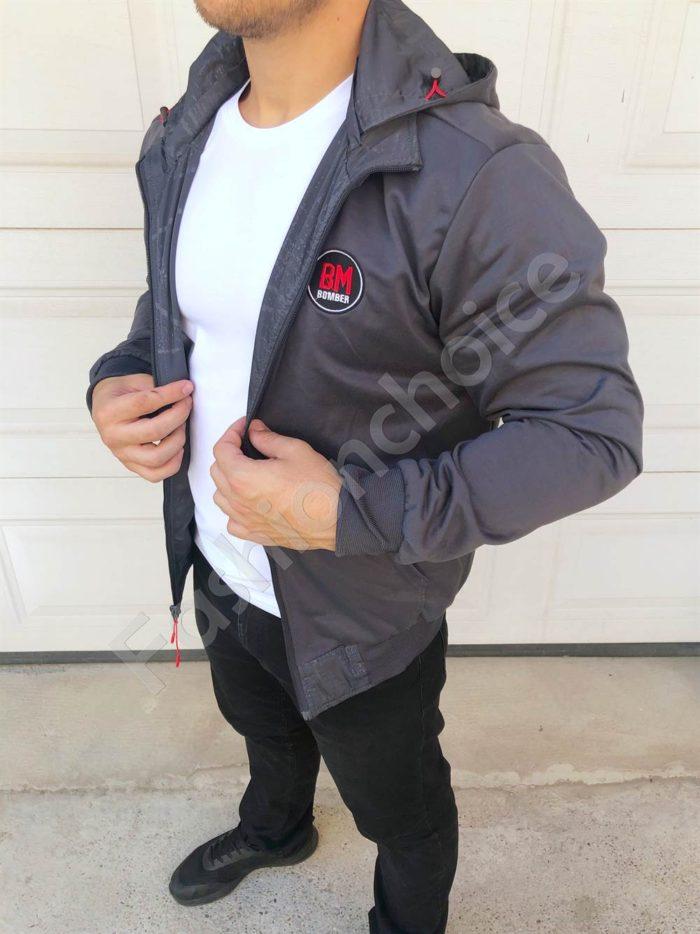 Двулицево мъжко яке с качулка в сиво-код 8330-1