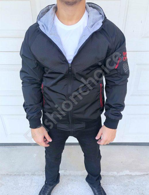 Двулицево мъжко яке с качулка в черно-код 8331-1
