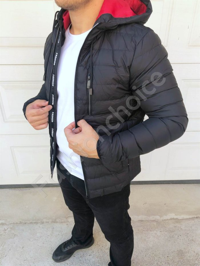 Мъжко яке с цветна качулка-код 83997