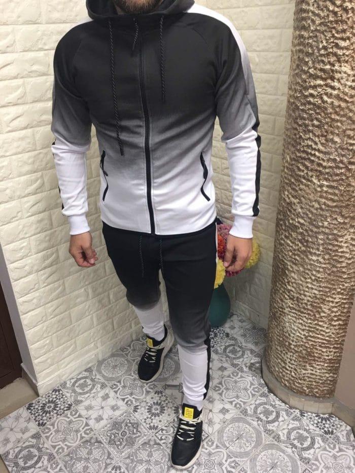 Мъжки спортен комплект в преливащо черно с бяло-код 110