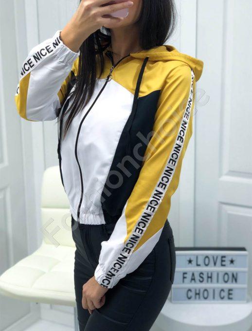 Дамско шушляково якенце в цвят горчица-Код 1258