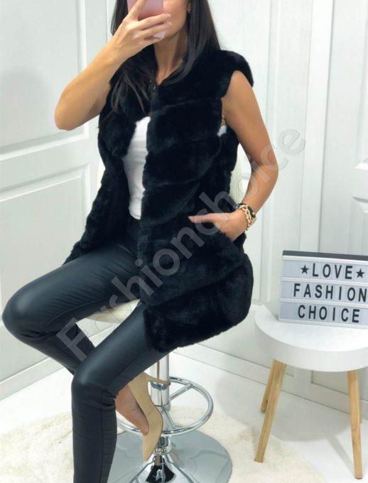 Елегантен елек с луксозен еко косъм в черно-Код 05