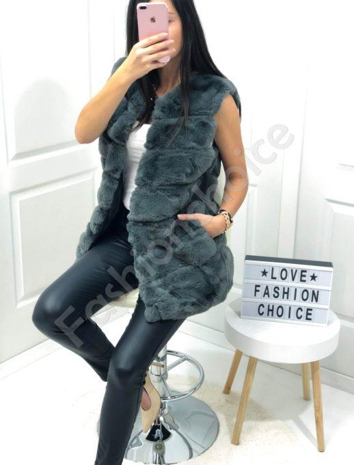 Елегантен елек с луксозен еко косъм в сиво-Код 05-2