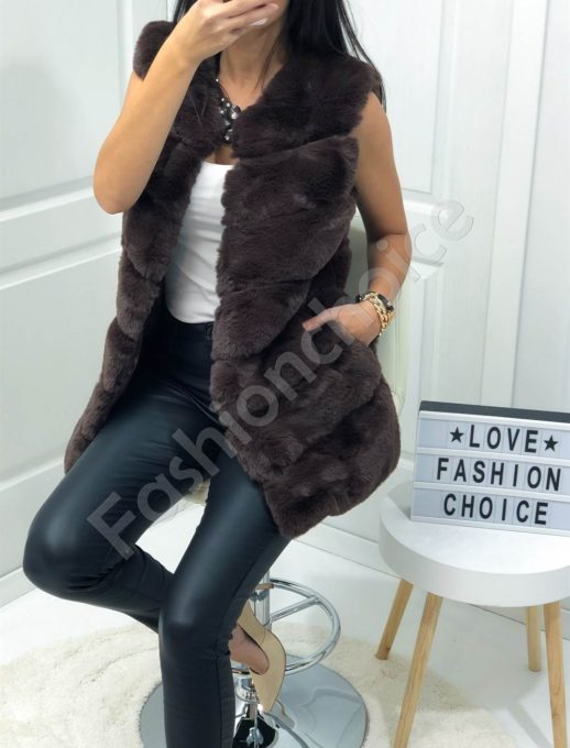Стилен дамски пухен елек в кафяво-Код 05-3