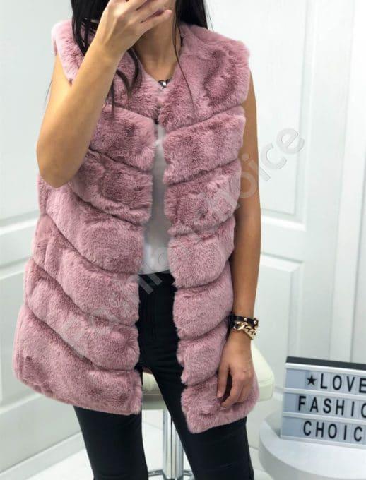 Стилен дамски пухен елек в цвят пудра-Код 05-4