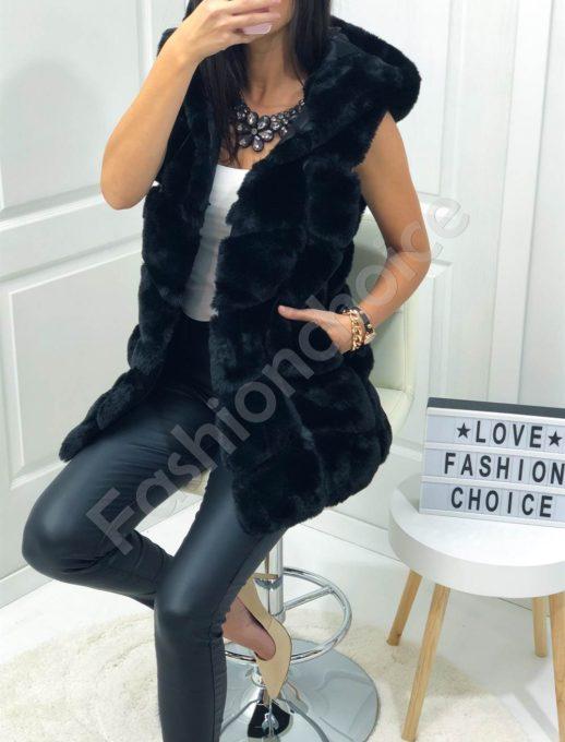 Дълъг пухен елек с качулка в черно-Код 16