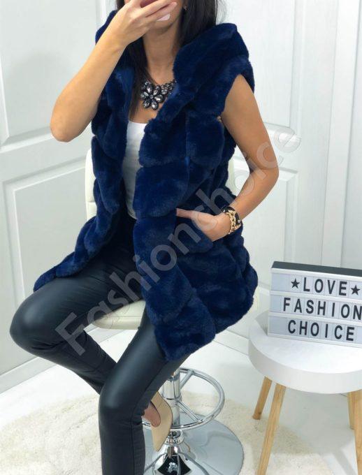 Дълъг пухен елек с качулка в синьо-Код 16-1