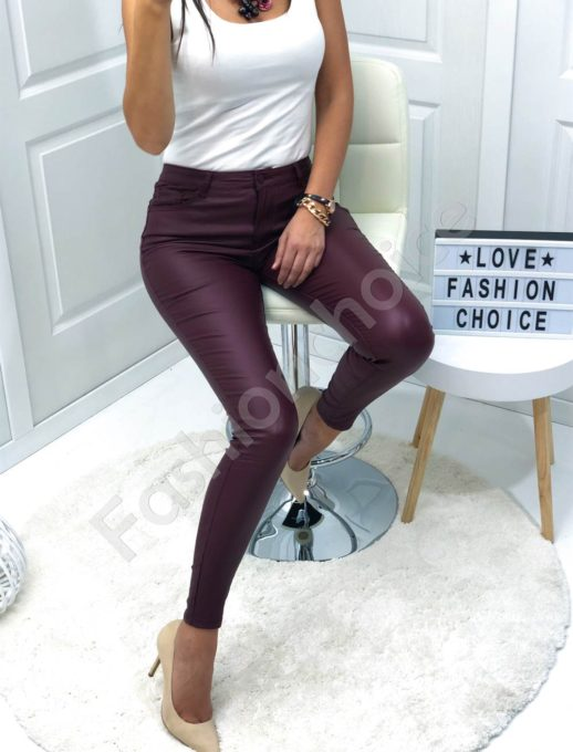 Кожен плътен панталон в бордо-Код 884