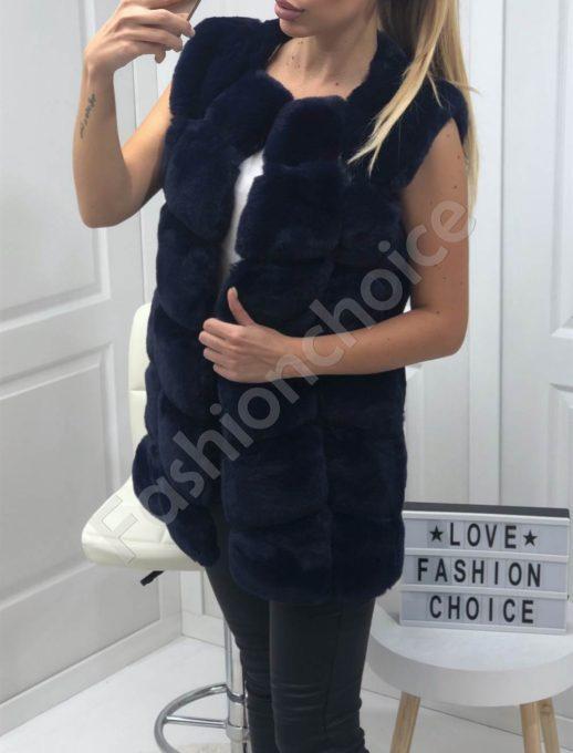 Пухен елек с луксозен еко косъм в синьо-Код 15-1