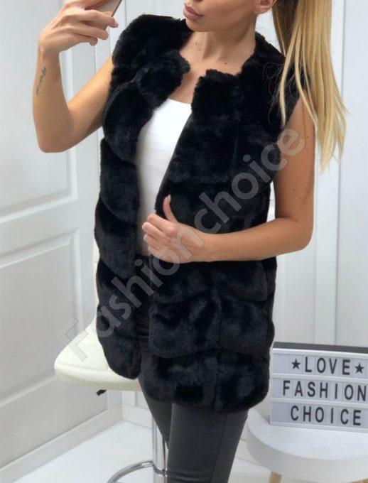 Пухен елек с луксозен еко косъм в черно-Код 15