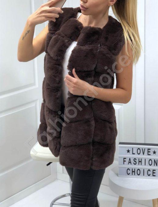 Пухен елек с луксозен еко косъм в кафяво-Код 15-4