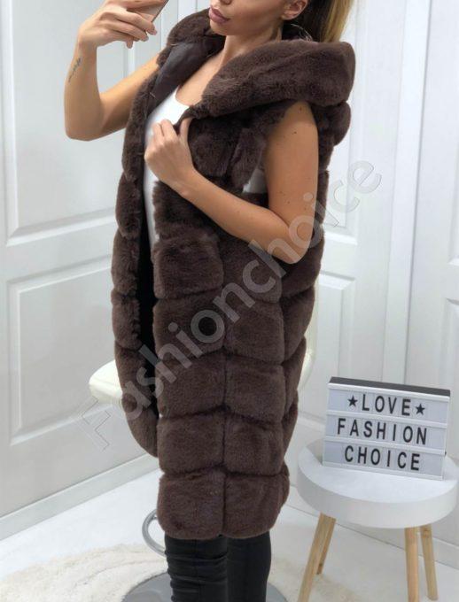 Дълъг пухен елек с качулка в кафяво-Код 18-1