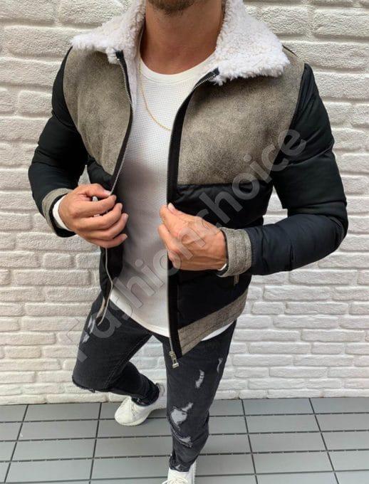 Мъжко шушляково яке с еко кожа в черно-код 603