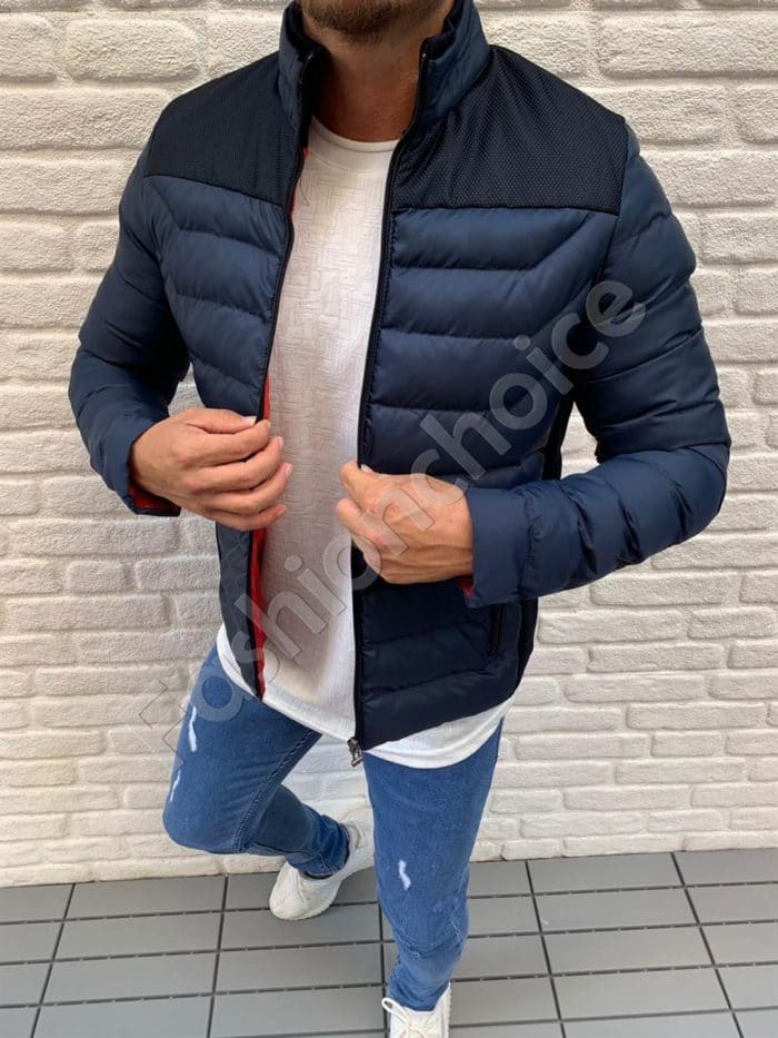 Мъжко шушляково яке с платка в тъмносиньо-код 583-1