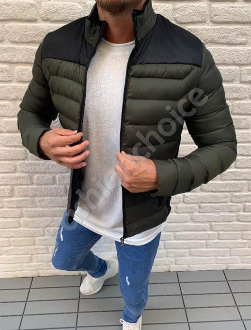 Мъжко шушляково яке с платка в цвят каки-код 583