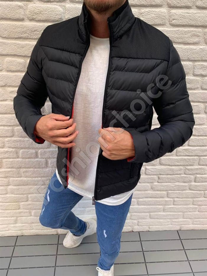 Мъжко шушляково яке с платка в черно-код 583-2