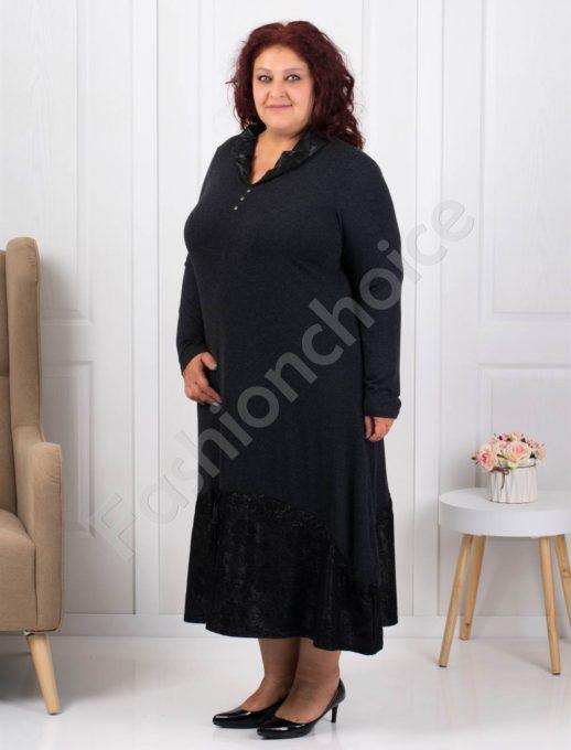Плътна макси рокля с промазка на цветя-код 445