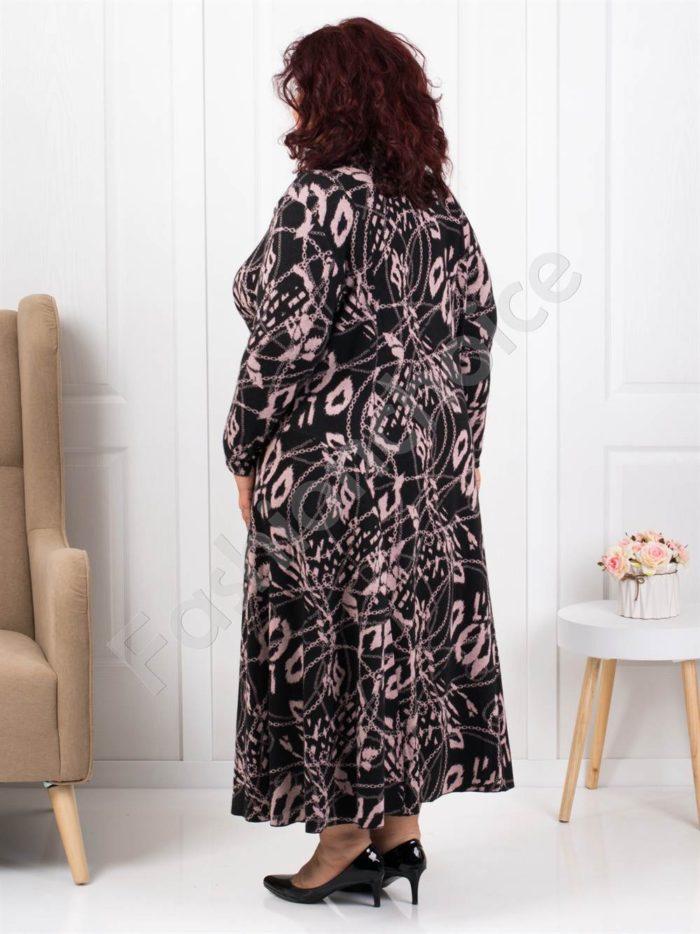 Плътна дълга макси рокля в черно с пудра-Код 1110