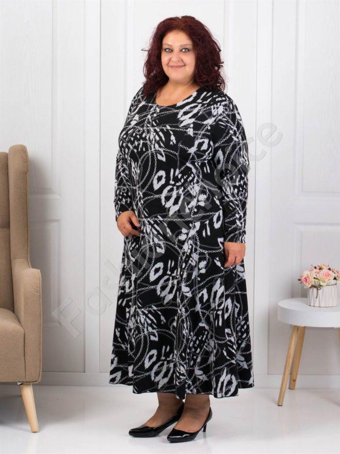 Плътна дълга макси рокля в черно с бяло-Код 1110-1