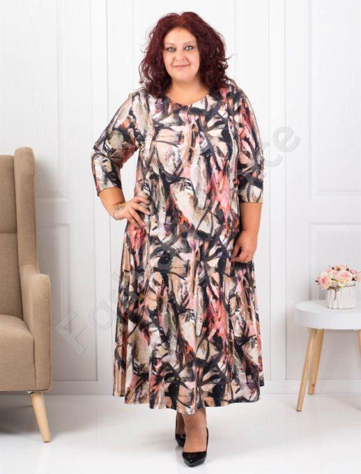 Свежа макси рокля от ангора в цветен коралов десен -код 093-1