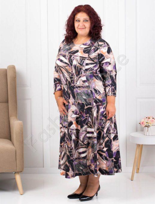Свежа макси рокля от ангора в цветен лилав десен -код 093
