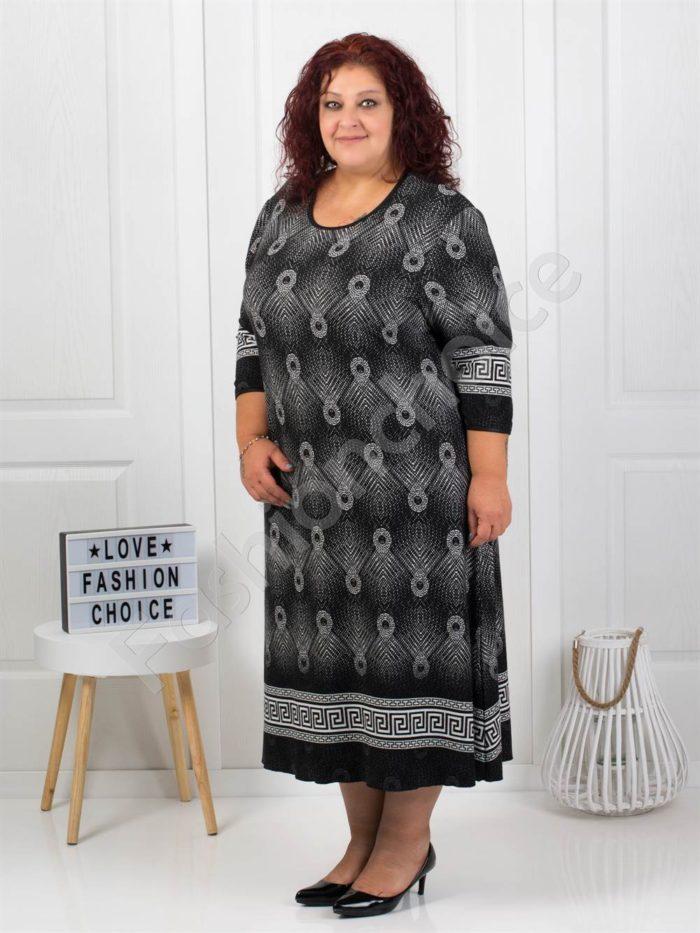Шикозна плътна макси рокля с красиви мотиви в черно/бяло-код7078-1