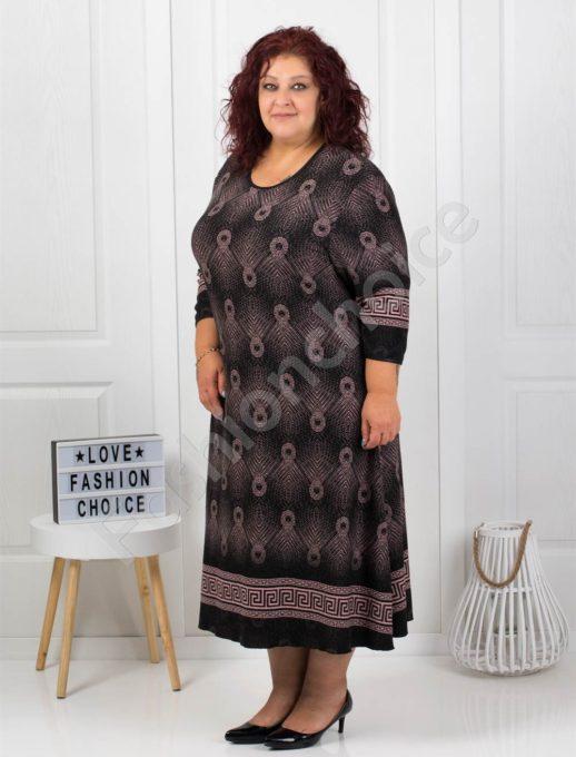 Шикозна плътна рокля с красиви мотиви в черно/пудра-код7078-1